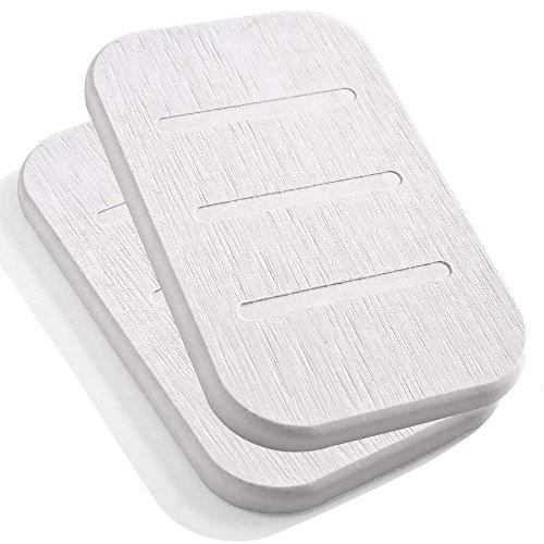 Marbrasse, Diatomit-Seifenschale, antibakterieller Seifenhalter, saugfähiger Seifenshalter und Ton-Untersetzer, 2 Stück, aus selbsttrocknender Diatomitenerde (Beige, länglich)