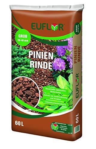 Euflor 60 L Pinienrinde in verschiedenen Siebungen Edler dekorativer Schutz und Pflege für Gartenanlagen und Pflanzgefäße (20-40mm grob)