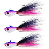 Bucktail Jig Fluke Lures Saltwater Freshwater Fishing Baits Assorted Kit for Bass Striper Bluefish Surf Fishing Size 1/4 OZ by Shaddock Fishing - Pack of 3(Pink/Black/White)