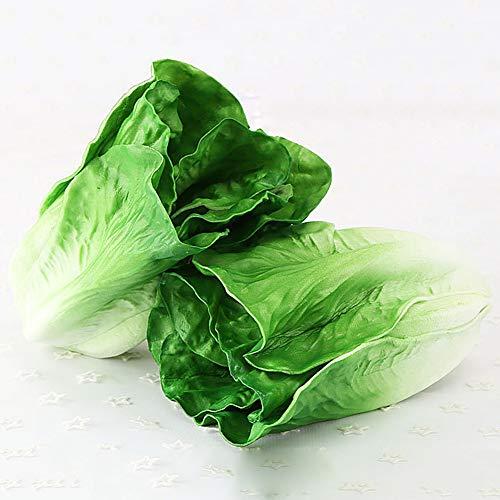 Cozyhoma Künstlicher Salat, künstliches Gemüse, Dekoration, künstlicher Salat für Heimdekoration, Foto-Requisiten Grün: 2 Stück.