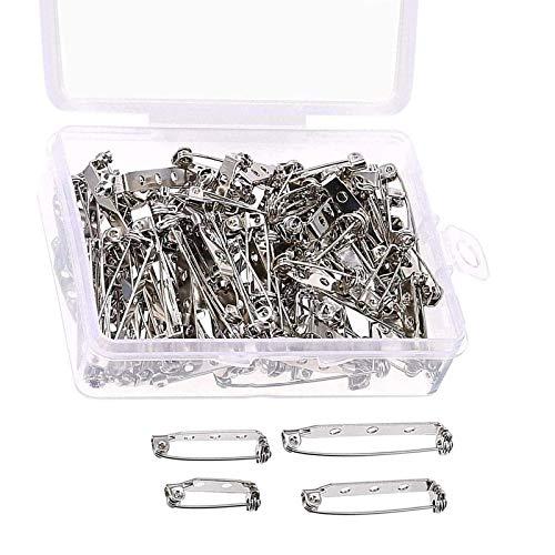 ABD 100 Pezzi Pin Spilla Argento Fermagli per Spilla Chiusura di Sicurezza con Scatola di Plastica, 4 Formati 20 mm, 25 mm, 32 mm e 38 mm (Argento)