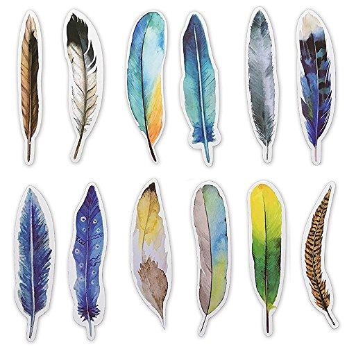 Marcapáginas coloridos en forma de pluma para hombres Mujeres Niños Niños niñas, paquete de 30