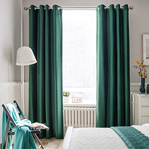 Melodieux 100% Blackout Velvet Curtains for Bedroom Living Room - Thermal Insulated Drapes with Black Liner, 52 by 96 Inch, Green (2 Panels)