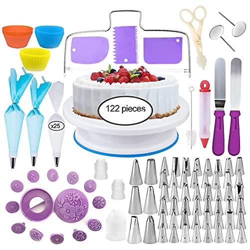 XINGGANG 122 Teile-Set zum Backen, Drehbare Tortenplatte, DIY Utensilien, Dekorationssets für Kuchen, Deko, Taschen, Tüllen, Spatel und Hörner etc. (Violett)