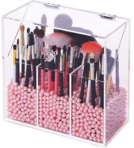 Makeup-Pinselhalter mit staubdichtem Deckel, Perlen und Perlen, großes Fassungsvermögen, Acryl, transparent