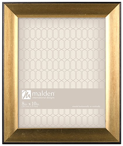 Malden International Designs Copley Picture Frame with Black Boarder, 8x10, Gold
