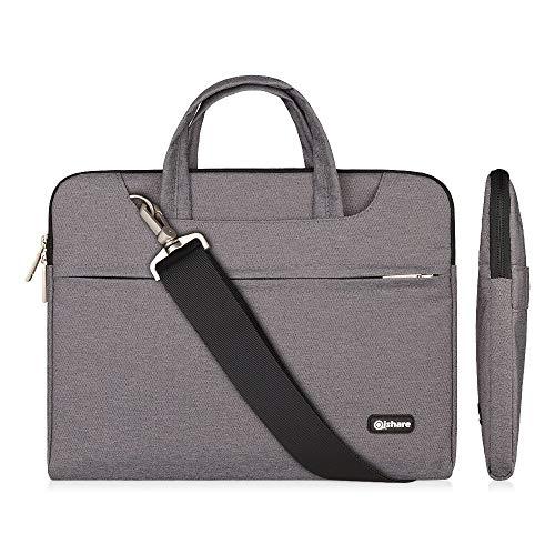 Qishare 15,6-16 Zoll Laptoptasche,multifunktionale Laptoptasche, Verstellbarer Schultergurt Laptop Schultertasche, tragbarer Dokumentenordner (15,6-16-Zoll Graue)