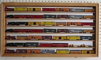 N/Z Scale Model Train Display Case Wall Shadow Box Cabinet  Oak Finish