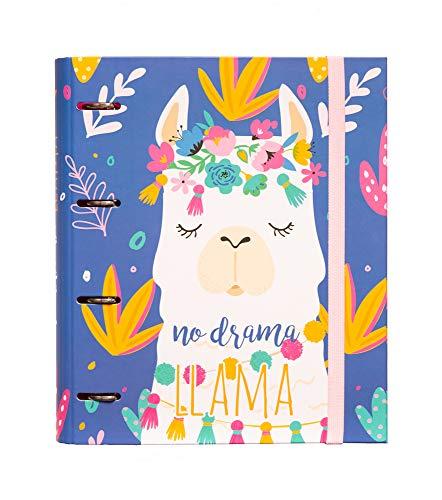 Grupo Erik - Carpeta 4 anillas troquelada premium Llama Lovers, 32x26 cm