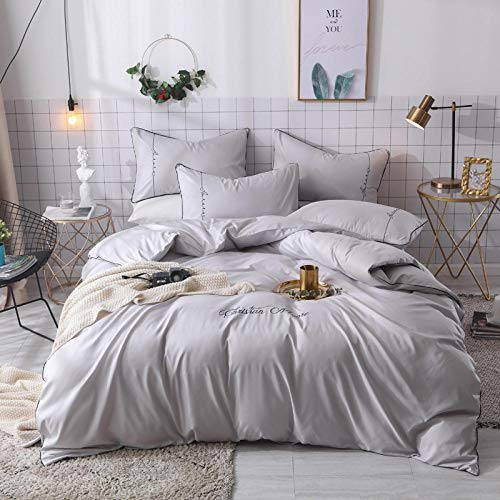 king size duvet cover cotton 100%,Summer ice feeling silk imitation silk tencel embroidered four-piece bedding-D_2.0m (4 pieces)