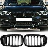 ZHAOHAOSCExterior, para BMW F20 F21 1 Series 2015-2017, Parachoques Delantero Negro Mate, Parrilla de Doble línea, Parrilla Deportiva, reemplazo de Parrilla
