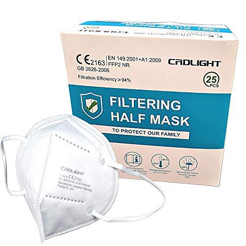 [25 Stück] FFP2 Maske ce Zertifiziert, CE 2163 EN 149 Schutzmaske, EU CE Zertifizierte Mund- und Nasenschutz nach EN149:2001+A1:2009, Atemschutz hohe Filtration, Partikelfiltermaske