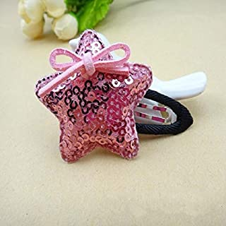 JIANGNIAU Fashion 5 PCS Girls Sequins Pentagram BB Clip Children Hair Accessories(Gold) (Color : Pink)