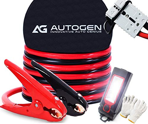 AUTOGEN Jumper Cables Heavy Duty 1 Gauge 1GA 30 FT with Quick Connect Plugs Travel Bag for Truck SUV Car