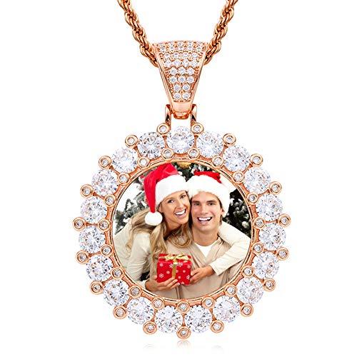 Collar de medalla personalizado Collar de foto personalizado Collar de torsión Collar con colgante redondo Collar de hip hop(Oro de Rose plateado 18)
