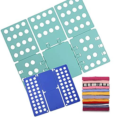 2 Piezas Doblador de Ropa, Azul Tabla para Doblar con Agujeros Tablero Plegable para Ropa Camisas Ropa de niños y Adultos, Azul+verde