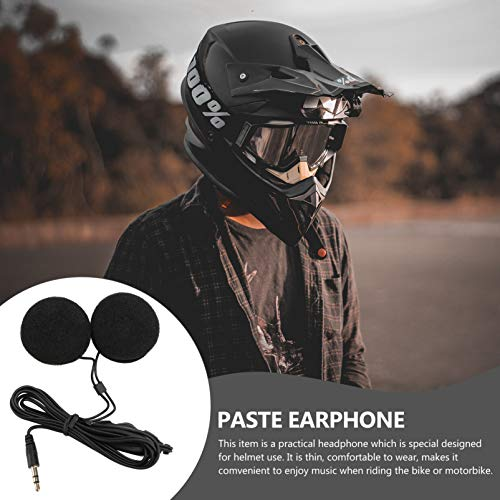 WINOMO 3.5 mm Klinkenstecker Stereo Motorrad Helm Lautsprecher Kopfhörer mit Volume-Steuerung für Handy MP3 GPS (Schwarz) - 3
