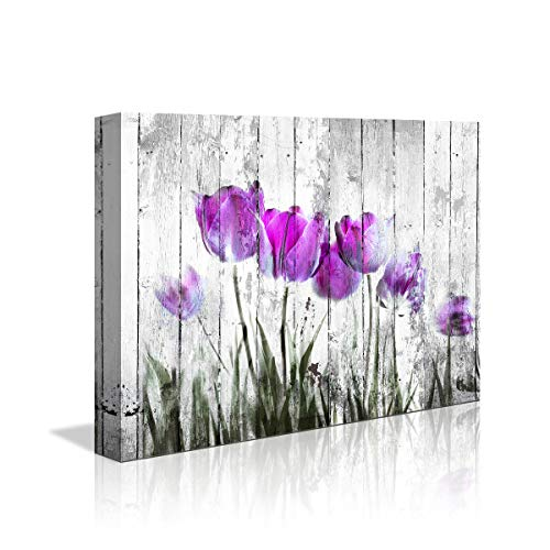Tulip Wall Art for Bedroom abstract Purple Flower Canvas Print 12'x16'Wall Art Painting for Living Room wall Decor and artwork Modern Home Decorations framed wall art Photo canvas Prints Ready to Hang