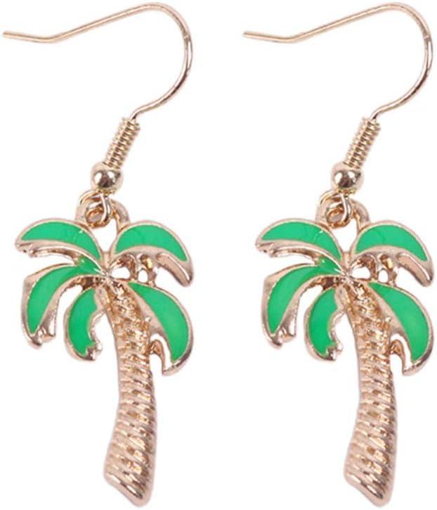 TENDYCOCO 1 Pair Hawaii Jewelry Earrings Sweet Coconut Tree Shape Ear Dangles Earrings Ear Drops Ear Bobs for Women Hawaiian Party Decoration