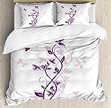 Juego de funda de edredón y fundas de almohada, 4 unidades, diseño de flores, color morado y morado California King Multi 477