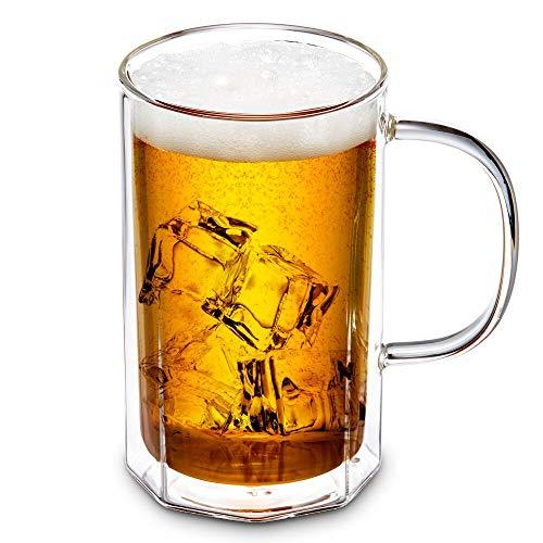 ZENS Doppelwandige Bierglas, Einzigartige Octagon Glas Bier Maßkrug 0.5 Liter mit Henkel, Klar Borosilikat Biergläser Thermogläser für Bier Cocktails Tee 500ml