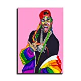 Rapper 6ix9ine Poster Speaks his Mind Leinwand-Kunst-Poster