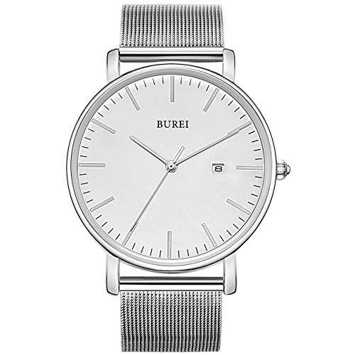 BUREI Herren Uhren Ultra Dünne Schwarze Minimalistische Quartz mit Datumsanzeige