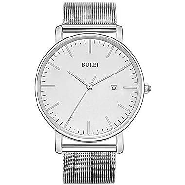 BUREI Men's Watch Ultra Thin Quartz Analog...