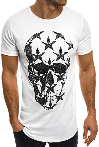 Manga Corta Camiseta para Hombre Moda Estampado Calaveras Cuello Redondo Slim Fit