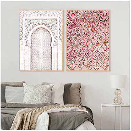 Jhmjqx Vintage Pink Rug Art Prints Boho Wall Decor Eclectic Poster, Ancient Gate Morocco Door Art Canvas Artwork Pictures 50x75 cm x2 No Frame