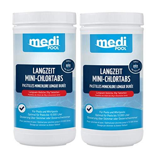 Medipool 503601MP Langzeit MiniChlorTabs 20g, 2 x 1 KG, Langzeit Mini Chlortabletten