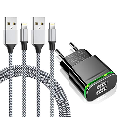 Niluoya Cargador Phone, 3-Pack 2.1A/5V 3M Cable y Dos Enchufe USB Movil de Pared Adaptador Replacement for iPhone XS XS MAX XR X 8 7 6 6S Plus SE 2020/5S/5C, Pad Air Mini Pro, Pod