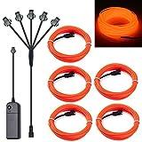 SZILBZ 5 x 1m EL Wire Neon Beleuchtung, Kabel Neon Seil Lichter,flexible Neonlicht für DIY...