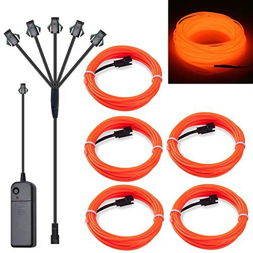SZILBZ 5 x 1m EL Wire Neon Beleuchtung, Kabel Neon Seil Lichter,flexible Neonlicht für DIY Weihnachtsfeiern Rave Partys Halloween Kostüm Orange