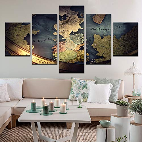 LAKHAFZY Sin Marco Decoración Moderna De La Lona Pintura Home Bedroom Wall Art 5 Piezas Juego De Tronos Mapa Fotos HD Cartel Impreso