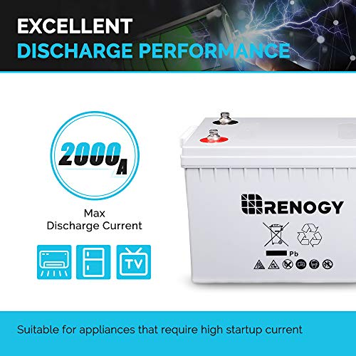 Renogy Deep Cycle Agm Battery 12 Volt 200AH for RV, Solar, Marine, and Off-Grid Applications, Gray