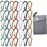 35 Pack Carabiner Clip Keychain Mini Carabiner Strong Small Carabiner Spring Aluminum Carabiner Outdoor Caribeaners Camping Hiking Hook Traveling Backpack Accessories Random Colors Mixed