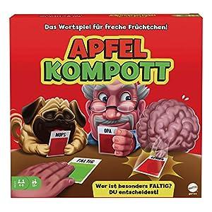 Apfelkompott ist das total verrückte Partyspiel, bei dem die Spieler selber entscheiden können, wer gewinnt Enthält zwei Kartenarten: Auf den roten Apfelkarten steht ein Satz mit einem Substantiv, auf den grünen Apfelkarten ein Adjektiv Die Spieler w...