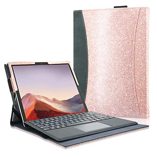 ACdream Microsoft Surface Pro 7 Case, Multiple Angle Viewing with Pocket Business Cover Case for Surface Pro 6 / Surface Pro 5 / Surface Pro 4 (Fit Type Cover Keyboard),Glitter Rose Gold