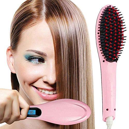 Bakaji Spazzola Piastra Lisciante per capelli, Raddrizzatore Districante con struttura in ceramica per la cura dei capelli, con effetto antistatico per capelli lisci e Voluminosi
