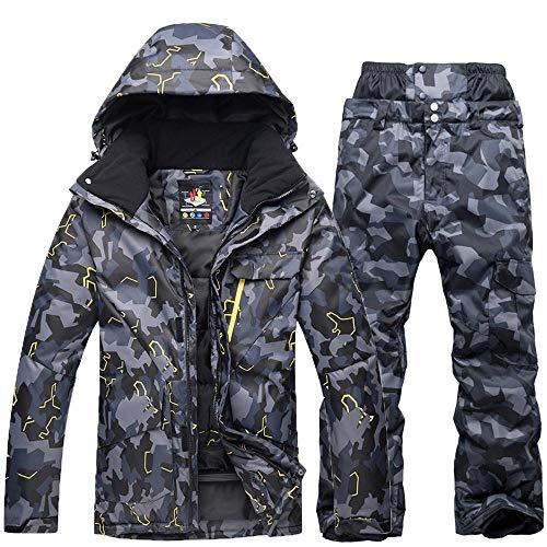 Herren Winter Outdoor Camouflage Skianzüge, Snowboard Kleidung Wasserdicht Warm Verdicken Ski-Jacken Ski-Hosen Set C Camouflage-XL