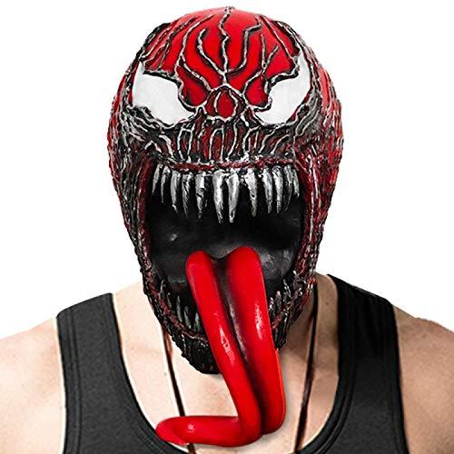 WWWL Maske Halloween There Be Carnage Maske Gruselige Latex Masken für Halloween Venom Rot