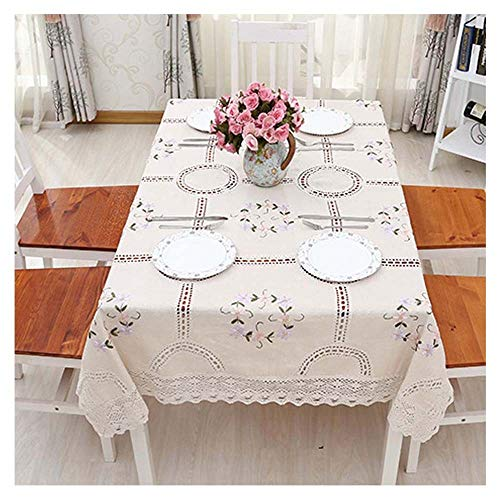 BDNKKENI Tovaglie Quadrate Copertura da Tavolo in Pizzo di Nappa di Cotone Ricamata A Mano Lavabile in Polvere Lavabile per La Cucina Tavolo da Pranzo Decorazione per Buffet,130x180CM