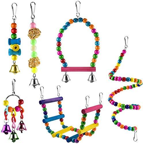 tellaLuna 6 Pcs Bird Parrot Toys, Bird Swing Toy Colorful Chewing Hanging Hammock Swing Bell Pet Climbing Ladders Toys Bird Toys For Parrots, Parakeet, Conure, Cockatiel, Mynah, Love Birds