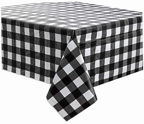 Black Gingham Checkered Plastic Tablecloths 3 Pack Disposable Table Covers 54 x 108 Inches Party Tablecovers PEVA Vinyl Buffalo Plaid Table Cloth for Rectangle Tables Upto 8 ft and Picnic Barbecue