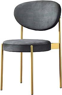 Amrai-Sillas de Comedor Grises [Juego de 4] Sillas Laterales tapizadas de Tela de Terciopelo para Cocina Sala de Estar Dormitorio Oficina Patas de Metal Dorado, sillas de café para Invitados