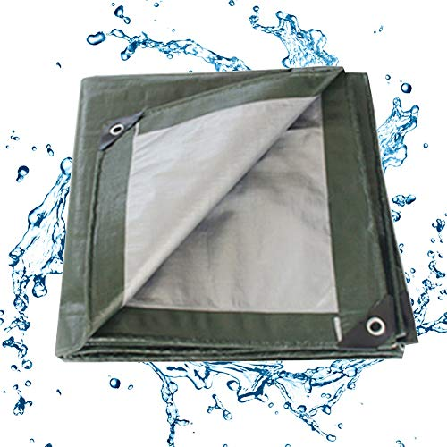 ALGFree-Parasole Vela Rain Cloth Outdoor Double-sided Waterproof Shed Thicken Tarp Tarpaulin Sheet Dust-proof Insulation Shade Sun Protection, Customizable (Color : Green+Silver, Size : 4x6m)