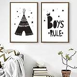woplmh Photos sur Toile garçons règle personnalisé Minimaliste Nordique Affiches Mur Art Photo pour pépinière Enfants Chambre décor à la Maison 20x30cmx2 sans Cadre