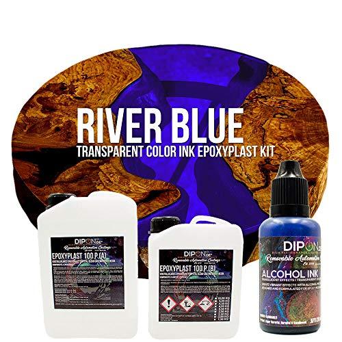 EpoxyPlast 100 P River Blue Alcohol Ink Kit Set - Epoxidharz Transparent gefärbt für Holz Tisch Metal Beton Gießen Bodenbeschichtung Garage Laminierharz Epoxydharz Farb Effekt Gießharz