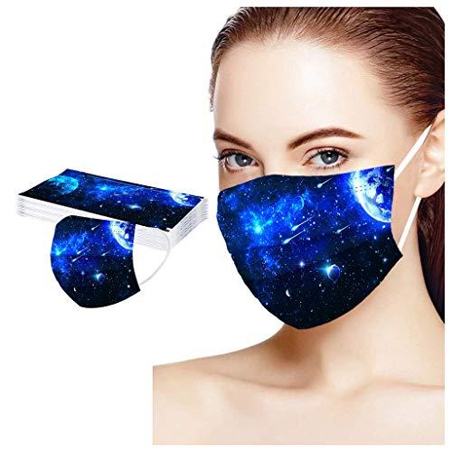 XiaoCheyh Erwachsene Einweg Mundschutz Multifunktionstuch, 3-lagig 3D Sternenhimmel Bedruckt Maske,Weiche Staubdicht Atmungsaktive Vlies Mund-Nasenschutz Bandana Halstuch